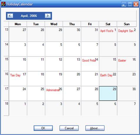 Holidays Calendar Holidays Calendar Codeproject