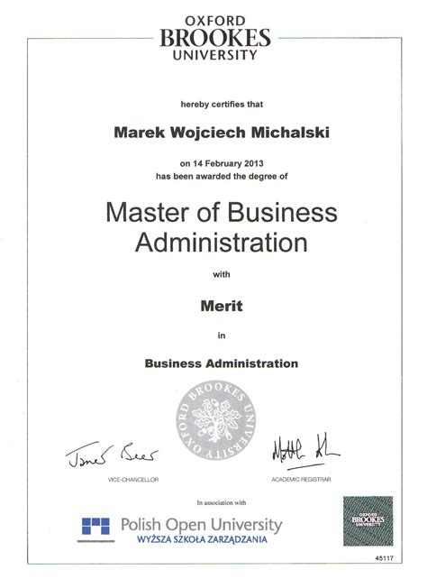 Oxford Brookes Business School Mba by Marek W Michalski Key Facts
