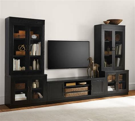 Reynolds Tv Stand Media Suite With Glass Door Towers Tv Media Cabinet With Doors