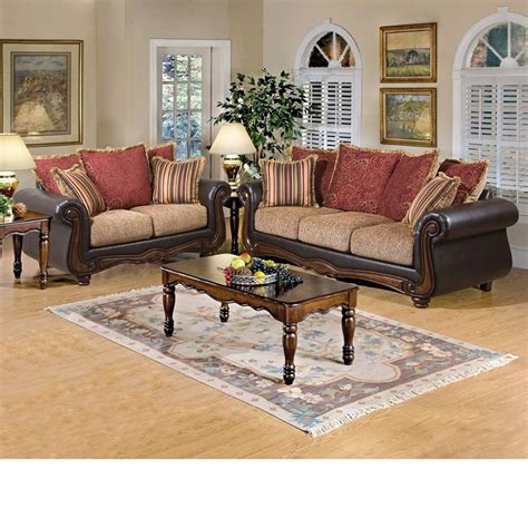 floral living room furniture dreamfurniture 50315 olysseus brown floral sofa set