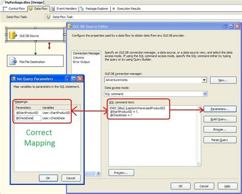 package mapping ustcer mapping stored procedure parameters in ssis ole db source editor