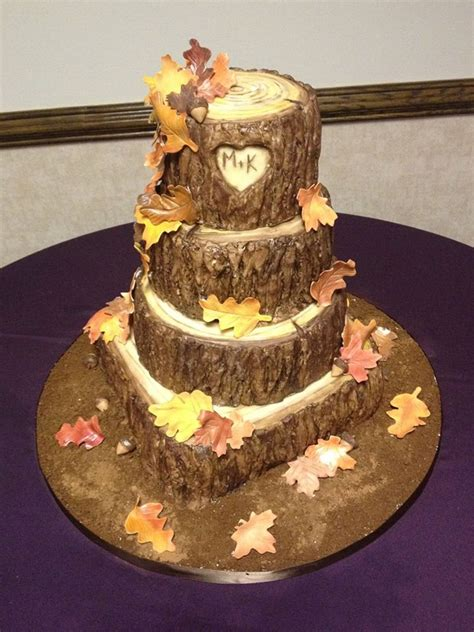 Hochzeitstorte Baum by Fall Tree Stump Wedding Cake Cakecentral