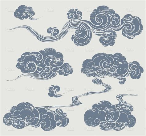 oriental tattoo clouds a set of grunge cloud graphics in oriental style vector