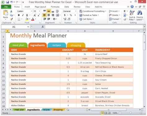 Free Monthly Meal Planner For Excel Meal Plan Exles Templates