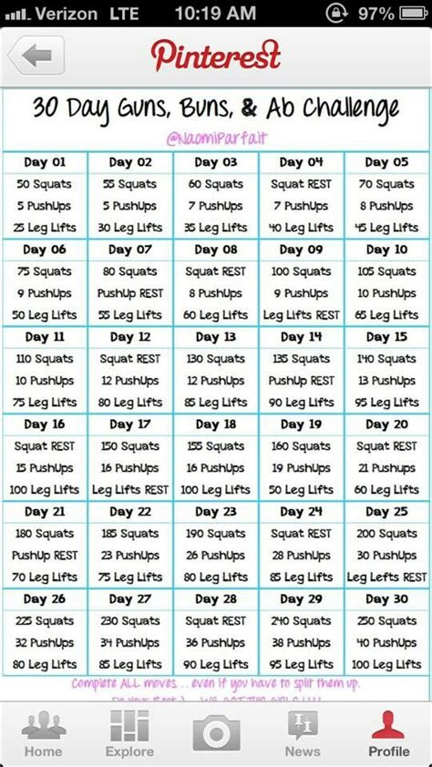 Have taken the 30 day challenge buns guns abs and plank challenge and
