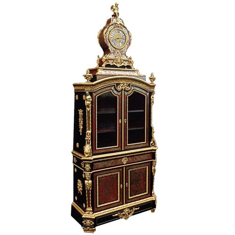 Cabinet Secretariate by Cabinet With Clock In Boulle Marquetry 19th