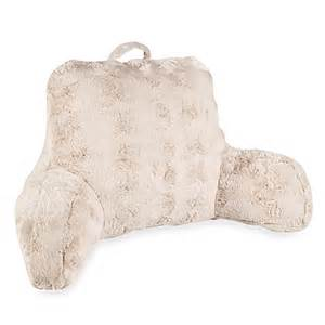 bed rest pillow bed bath and beyond crystal fur backrest in taupe www bedbathandbeyond com
