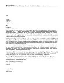 Cover Letter Exles by Cover Letter Exle For Auditor