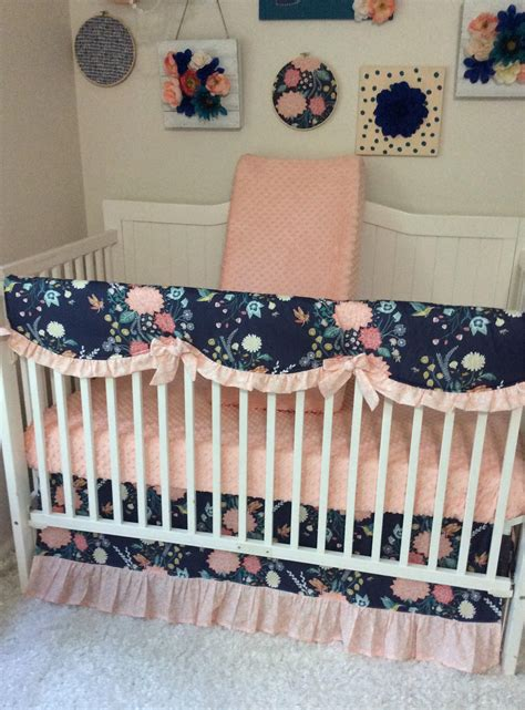 Blush Baby Bedding by Baby Bedding Crib Set Baby Blush Pink Coral Navy Teal
