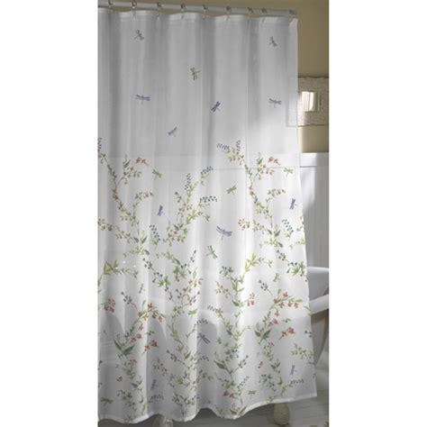 wal mart shower curtains dragonfly garden fabric shower curtain walmart com