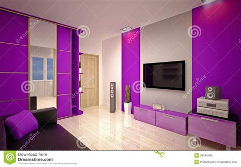 modern apartment design in purple shades home decor ideas interior design modern living room royalty free stock