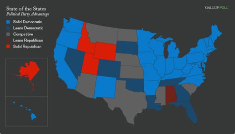political affiliation 30 states blue 4 in 2009