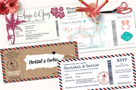 boarding pass wedding invitations with detachable rsvp - Wedding Invitations With Detachable Rsvp Cards