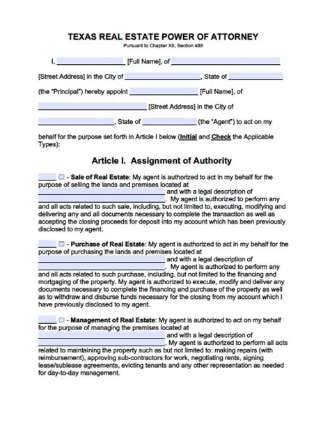 texas minor child power of attorney form power of