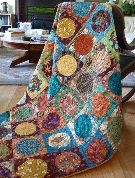 geometric circles patchwork quilt throw modern