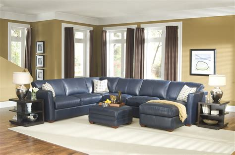 Blue Leather Chair And Ottoman Design Ideas 20 Inspirations Of Navy Blue Sectional Sofa