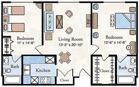 2 Bedroom 2 Bath Apartment Floor Plans by Two Bedroom Apartment Floor Plan Larksfield Place