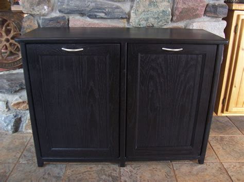 New black painted wood double trash bin cabinet garbage can