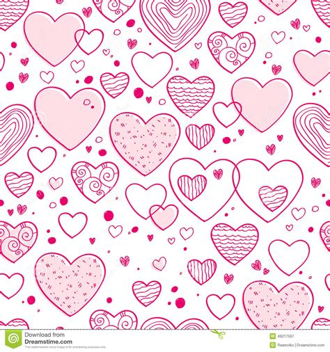 wallpaper doodle pink hearts and dots doodle pattern pink color stock vector