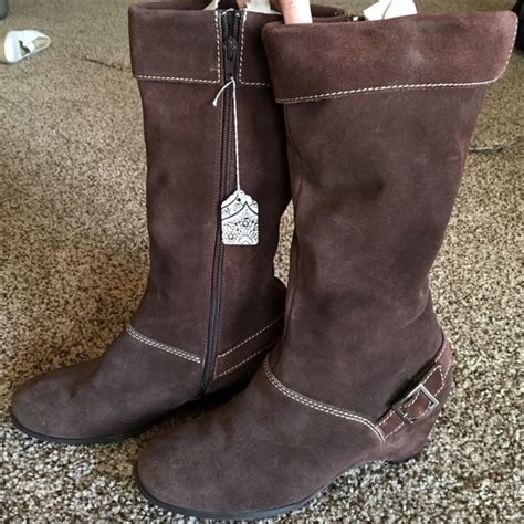 nordstrom nordstrom brown suede wedge boots size 5 5 7