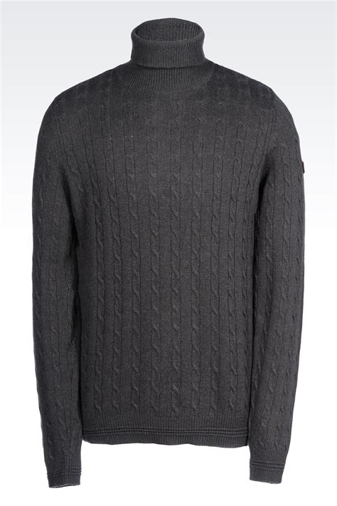 cable knit turtleneck armani cable knit turtleneck jumper in viscose blend
