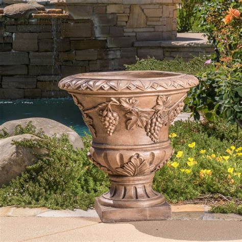 Large 21 Quot Brown Stone Roman Decor Outdoor Garden Urn Large Outdoor Planters