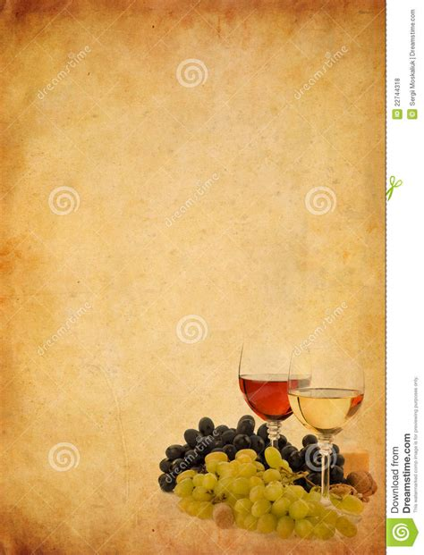 Winery Floor Plans by Wine In Glass And Grape On Old Paper Background Royalty