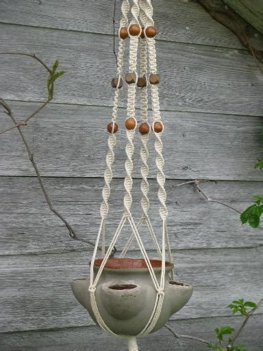 Macrame Pot Hanger Patterns - retro macrame plant hanger and pottery strawberry pot for