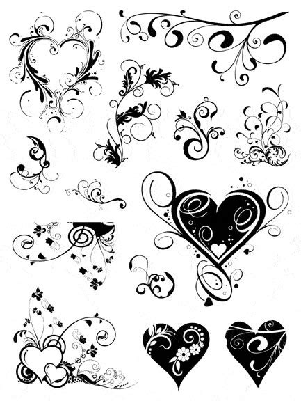 photo collection heart and swirl pattern