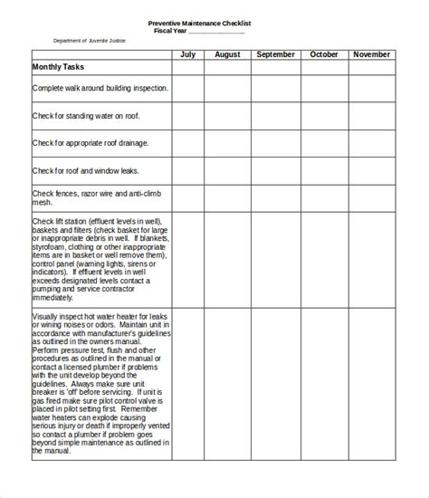 maintenance checklist template targer golden dragon co