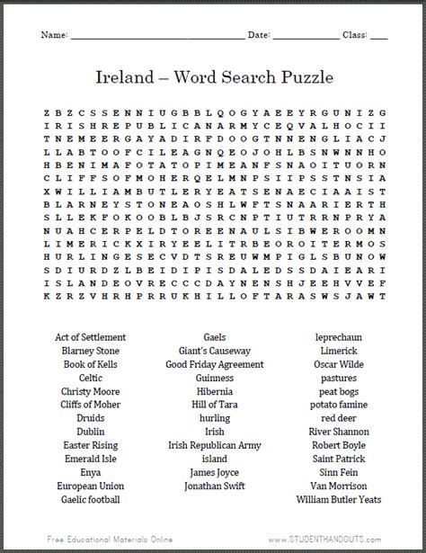 Search Free Ws Ireland Word Search Puzzle Free Printable Worksheet Social Studies
