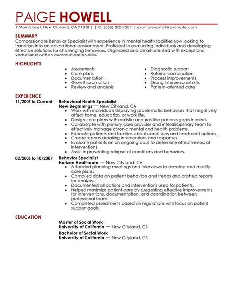 Behavior Specialist Resume Examples Social Services