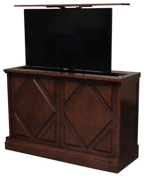 hidden tv lift cabinet traditional bedroom new york pancho via hidden tv lift console us made tv lift console