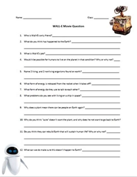 Wall E Movie Questions By Nicole Duhr Teachers Pay Teachers | wall e movie science questions by wheels on the bus tpt