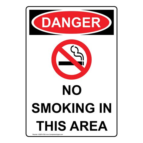 osha ansi no smoking sign sign portrait osha no smoking in this area sign with symbol
