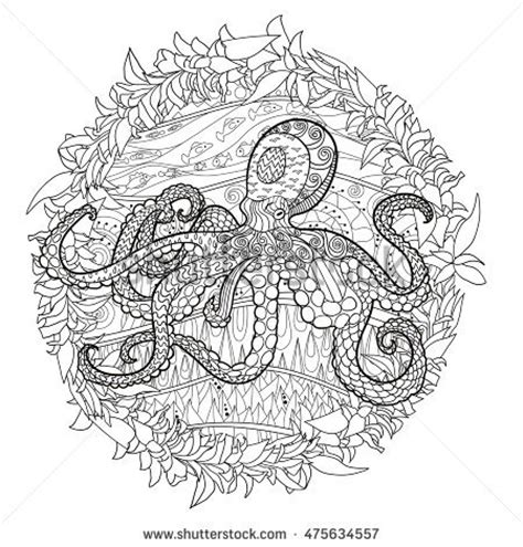 how to create octopus doodle god norse god thor stock vector 378891082