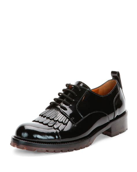 valentino oxford shoes lyst valentino fringe front patent lace up oxford shoe