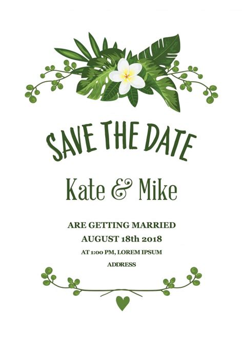 free templates for save the date cards floral save the date card vector free