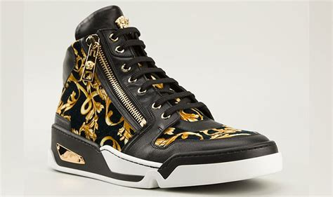 black and gold mens sneakers new versace baroque high top black and gold medusa