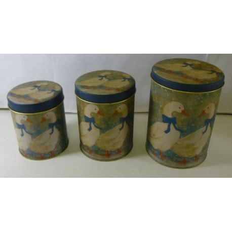 Kitchen Canister Set Of 3 Featuring White Ducks In Tin | kitchen canister set of 3 featuring white ducks in tin