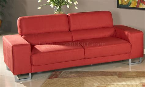 red microfiber loveseat red microfiber modern sofa loveseat set w metal legs