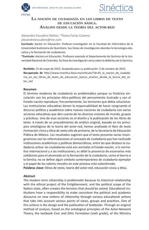 pdf la noci 243 n de ciudadan 237 a en los libros de texto de educaci 243 n b 225 sica an 225 lisis desde la