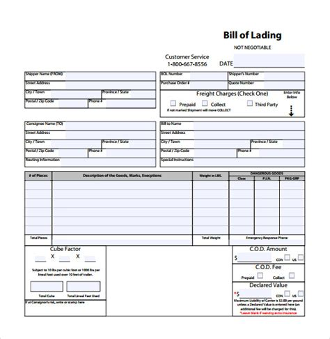bill of lading form template sle bill of lading 5 documents in pdf