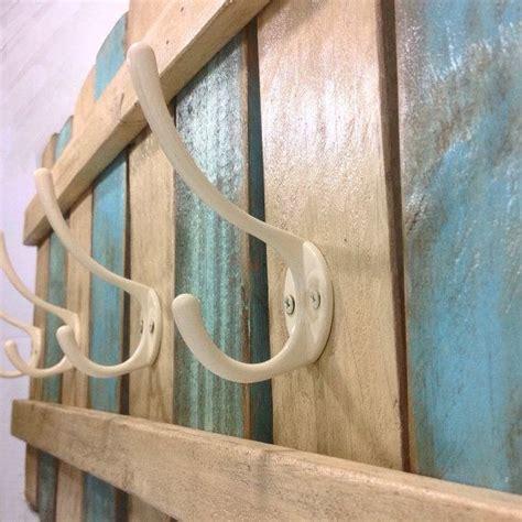 xl wood coat rack nautical blue ooak coat hook shabby