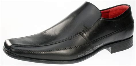 black real leather mens casual formal shoes clearance sale