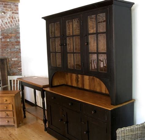 Farmhouse Hutch In Black Finish   ECustomFinishes