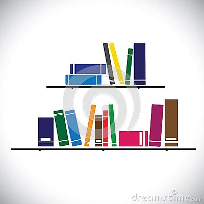 On A Shelf Concept by Colorful Collection Books On A Library Shelf Concept