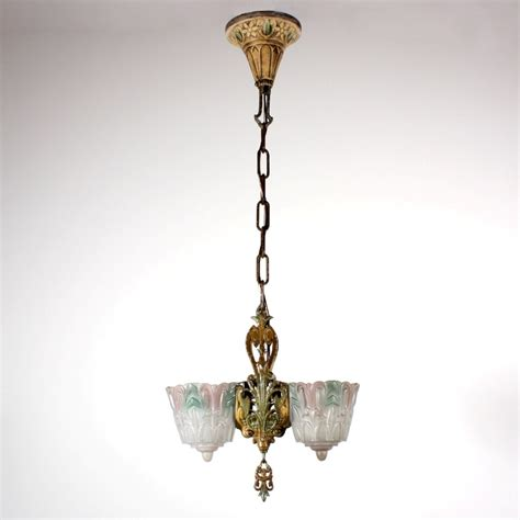 Slip Shade Chandelier Amazing Antique Two Light Deco Slip Shade Chandelier Polychrome Nc1306 For Sale Antiques