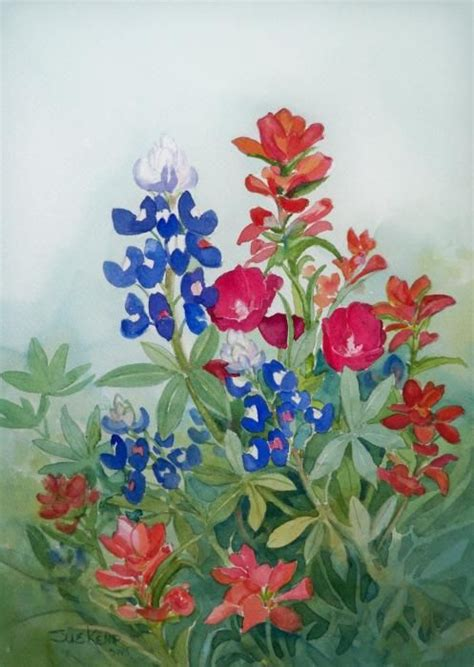 watercolor tattoo texas wildflowers painting wildflowers