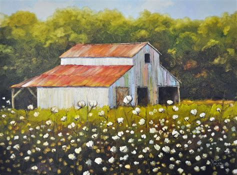 country farm paintings with barn cotton field with barn cotton field painting barn cotton